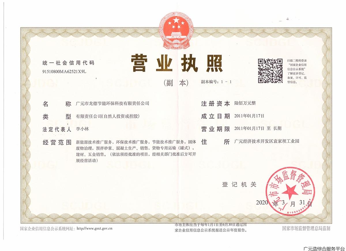 广元市龙德节能环保科技责任有限公司